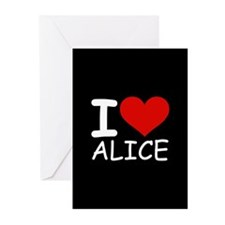I LOVE ALICE (blk) Greeting Cards (Pk of 20)
