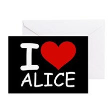 I LOVE ALICE (blk) Greeting Cards (Pk of 10)