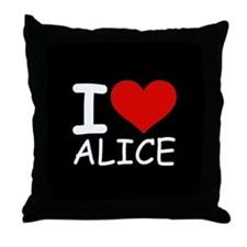 I LOVE ALICE (blk) Throw Pillow