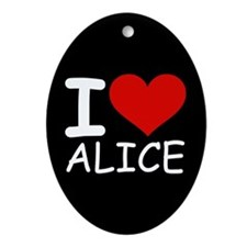 I LOVE ALICE (blk) Oval Ornament