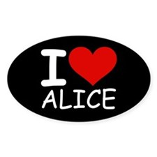 I LOVE ALICE (blk) Oval Sticker (50 pk)