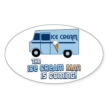 Ice Cream Man Oval Sticker