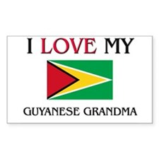 I Love My Guyanese Grandma Rectangle Decal