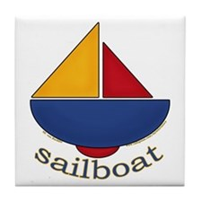 Cute Sailboat Design Tile Coaster
