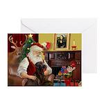 Santa's Chocolate Lab Greeting Cards (Pk of 10)