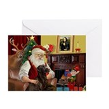 Santa's Chocolate Lab Greeting Cards (Pk of 10)