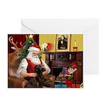 Santa's Chocolate Lab Greeting Cards (Pk of 20)