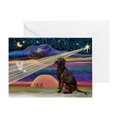 Xmas Star Chocolate Lab Greeting Card