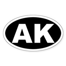 AK (Alaska) Oval Bumper Stickers