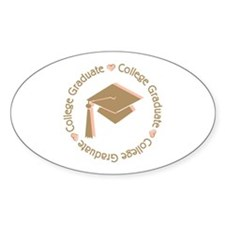 Cute Pink College Graduate Oval Sticker (50 pk)