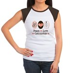 Peace Love Optometry Eye Chart Cap Sleeve Tee