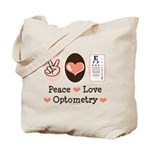 Peace Love Optometry Eye Chart Tote Bag