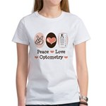 Peace Love Optometry Eye Chart Women's T-Shirt
