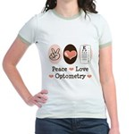 Peace Love Optometry Eye Chart Jr. Ringer T-Shirt