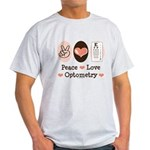 Peace Love Optometry Eye Chart Light T-Shirt
