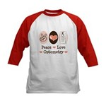 Peace Love Optometry Eye Chart Kids Baseball Tee