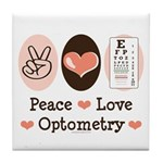 Peace Love Optometry Eye Chart Tile Coaster