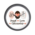Peace Love Optometry Eye Chart Wall Clock
