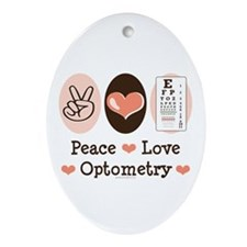 Peace Love Optometry Eye Chart Oval Ornament