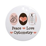 Peace Love Optometry Eye Chart Ornament (Round)