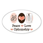 Peace Love Optometry Eye Chart Oval Sticker