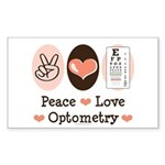 Peace Love Optometry Eye Chart Rectangle Sticker