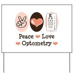 Peace Love Optometry Eye Chart Yard Sign