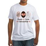 Peace Love Optometry Eye Chart Fitted T-Shirt