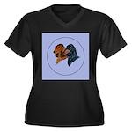 Dachshund Duo Women's Plus Size V-Neck Dark T-Shir