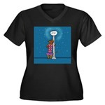 Dachshund Vamp Women's Plus Size V-Neck Dark T-Shi