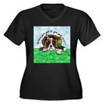 Bassett Hound Party guy!! Women's Plus Size V-Neck