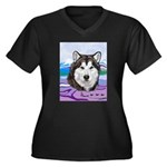 Malamute and sled team Women's Plus Size V-Neck Da
