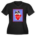 Valentine Saint Bernard Women's Plus Size V-Neck D