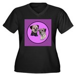 Border Terriers Women's Plus Size V-Neck Dark T-Sh