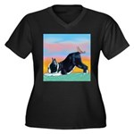 Boston Bull Terrier Women's Plus Size V-Neck Dark