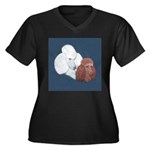 Poodle Pair Women's Plus Size V-Neck Dark T-Shirt