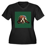 Brindle English Bulldog Women's Plus Size V-Neck D