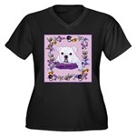 Bulldog puppy with flowers Women's Plus Size V-Nec