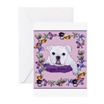 Bulldog puppy with flowers Greeting Cards (Pk of 2