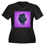 Black Shar Pei Women's Plus Size V-Neck Dark T-Shi