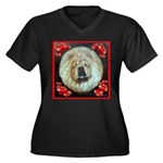Chinese Chow Chow Women's Plus Size V-Neck Dark T-