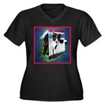 Agility Border Collie Women's Plus Size V-Neck Dar
