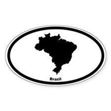 Brazil Oval Bumper Stickers