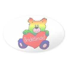 Bridesmaid Rainbow Bear Oval Sticker (50 pk)