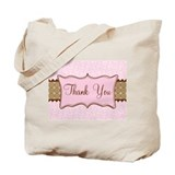Pink Brown Flowered Thank You Tote Bag