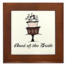 Aunt of the Bride Pink Cake Framed Tile