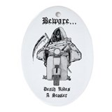 Death Rides A Scooter Keepsake (Oval)
