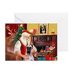 Santa's Great Dane (f) Greeting Cards (Pk of 20)