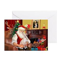 Santa's Ital Greyhound Greeting Cards (Pk of 20)