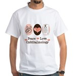 Peace Love Ophthalmology White T-Shirt